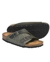 Оливковые кожаные сандалии