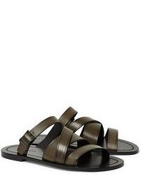 Мужские оливковые кожаные сандалии
