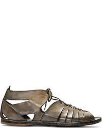 Мужские оливковые кожаные сандалии от Alexander McQueen