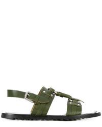 Мужские оливковые кожаные сандалии от Pollini