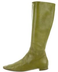 Оливковые кожаные сапоги