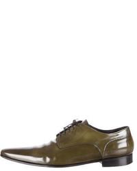Оливковые кожаные туфли дерби
