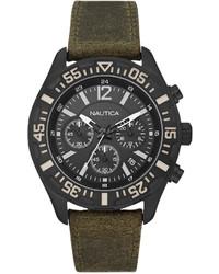 Оливковые кожаные часы