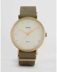 Мужские оливковые кожаные часы от Timex