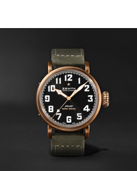 Мужские оливковые кожаные часы от Zenith