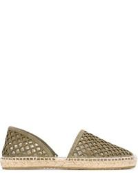Женские оливковые кожаные эспадрильи от Jimmy Choo
