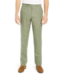 Оливковые льняные брюки чинос