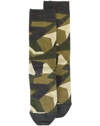 Мужские оливковые носки с камуфляжным принтом от Diesel