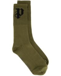 Мужские оливковые носки с принтом от Palm Angels