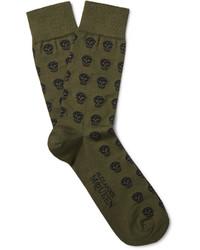 Мужские оливковые носки от Alexander McQueen
