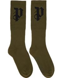 Мужские оливковые носки от Palm Angels