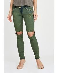 Оливковые рваные джинсы скинни от DSHE