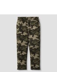 Оливковые спортивные штаны с камуфляжным принтом