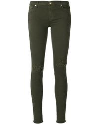 Оливковые хлопковые рваные джинсы скинни от 7 For All Mankind