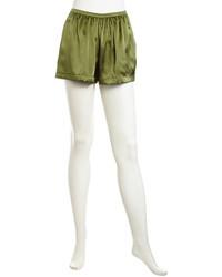Оливковые шелковые шорты