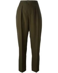 Оливковые шерстяные брюки-галифе