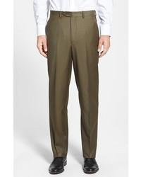 Оливковые шерстяные классические брюки