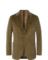 Мужской оливковый вельветовый пиджак от Caruso