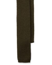 Оливковый вязаный галстук
