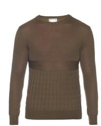 Оливковый вязаный свитер с круглым вырезом