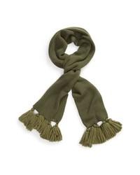 Оливковый вязаный шарф