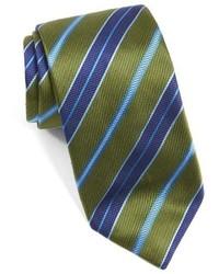 Оливковый галстук в горизонтальную полоску