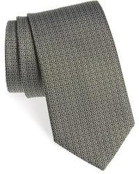 Оливковый галстук с принтом