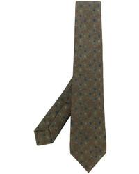Мужской оливковый галстук с принтом от Kiton