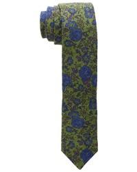 Оливковый галстук с цветочным принтом