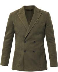 Оливковый двубортный пиджак