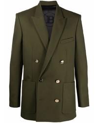 Мужской оливковый двубортный пиджак от Balmain