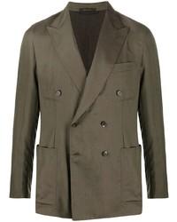 Мужской оливковый двубортный пиджак от Brioni