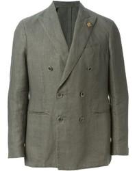 Мужской оливковый двубортный пиджак от Lardini