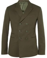 Мужской оливковый двубортный пиджак от Neil Barrett