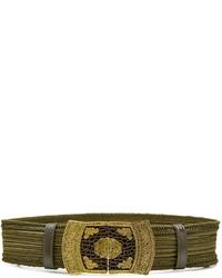Женский оливковый кожаный ремень с вышивкой от Etro