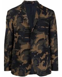 Мужской оливковый пиджак с камуфляжным принтом от Dondup