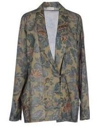 Оливковый пиджак с цветочным принтом