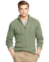 Оливковый свитер с воротником на молнии
