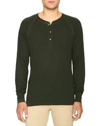 Оливковый свитер с горловиной на пуговицах