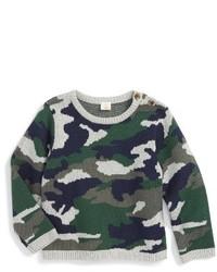 Оливковый свитер с камуфляжным принтом