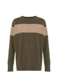 Оливковый свитер с круглым вырезом в горизонтальную полоску