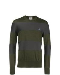 Мужской оливковый свитер с круглым вырезом в горизонтальную полоску от Vivienne Westwood