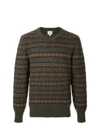 Мужской оливковый свитер с круглым вырезом с жаккардовым узором от Kent & Curwen