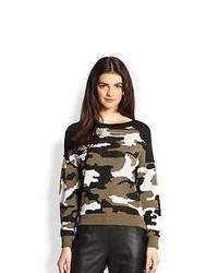 Оливковый свитер с круглым вырезом с камуфляжным принтом
