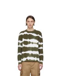 Мужской оливковый свитер с круглым вырезом с принтом тай-дай от MSGM