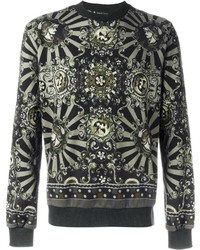 Оливковый свитер с круглым вырезом с принтом