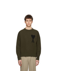 Мужской оливковый свитер с круглым вырезом с принтом от AMI Alexandre Mattiussi