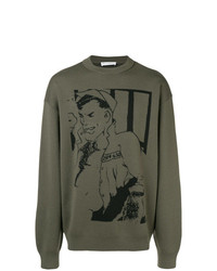Мужской оливковый свитер с круглым вырезом с принтом от JW Anderson