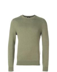 Мужской оливковый свитер с круглым вырезом от A.P.C.