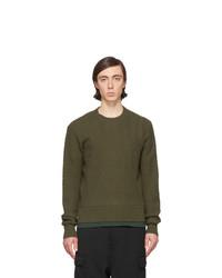 Мужской оливковый свитер с круглым вырезом от AMI Alexandre Mattiussi